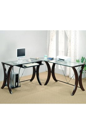 Picture of Comfortable L-Shaped Computer Desk by Coaster Furniture (B004T3CM2I) (Computer Desks)