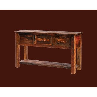 Image of Barnwood 3 Drawer Console Table w Shelf (B14140)