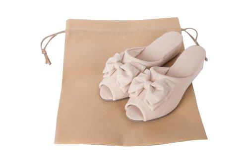 モアレリボン 木製ヒールスリッパ ベージュ 日本製  【袋付き】サイズは、SMLの3種【お受験用品】 (L)