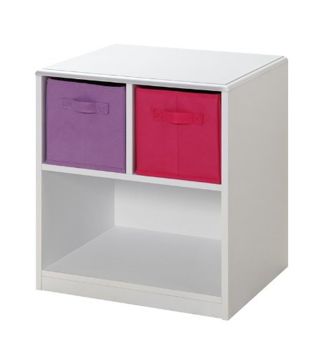 Image of Kids Nightstand with Baskets (White / Pink) (21.5
