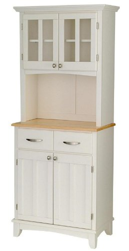 Image of Buffet Hutch with Natural Wood Top in White Finish (VF_HY-5001-0021-12)