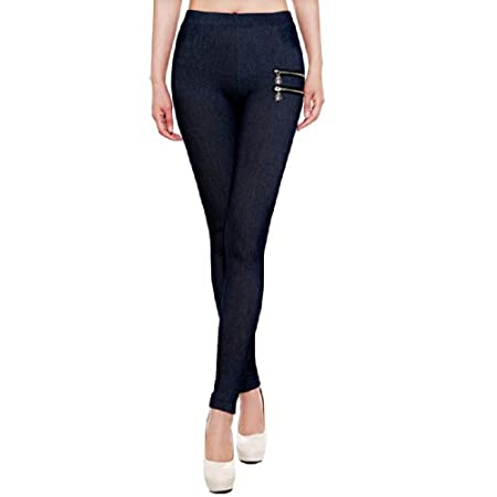 These super sleek denim style leggings come withdecorative side zippers and elasticwaistband. They are designed in high quality viscoseand spandex blend for an ultra comfortable and durable stretch fit. Material: 60% POLYESTEr, 35% VISCOSE, 5% SPANDE...