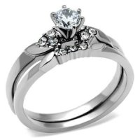 Amazon.com: Stainless Steel Round Solitaire CZ Engagement ...