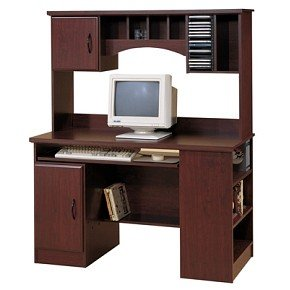 Picture of Comfortable Traditional Cherry Computer Desk and Hutch Set (B000Z9Z6J6) (Computer Desks)