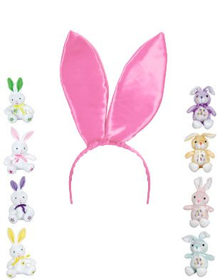 New Sexy Pink Satin Bunny Ears Adult Playboy Costume
