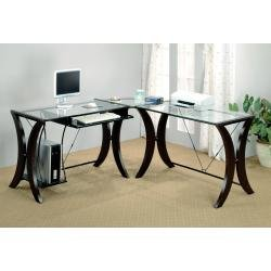 Picture of Comfortable Computer Desk in Cappuccino / Glass Top - Coaster (B00409BF0G) (Computer Desks)