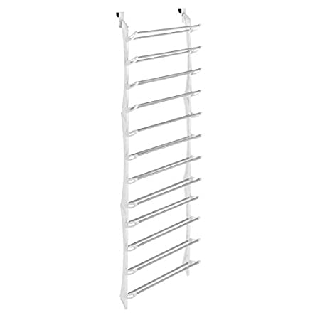 Holds 36 pairs of shoes and provides a nonslip door pad to prevent scratching and hold the unit in place. Durable white resin sides with nonslip coated steel bars. Easy, no tool assembly. 8.00 x 21.36 x 76.50