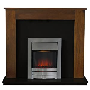 Adam Nevada Mango And Black Electric Fireplace Suite With