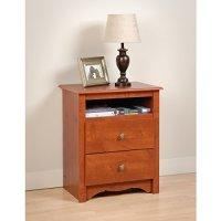 Cherry Monterey Tall 2 Drawer Nightstand with Open Shelf ...