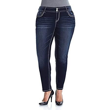 Our Plus Size Luscious Curvy Skinny Jeans feature classic five pocket styling and a double button closure. Contoured waistband to prevent gapping while creating a slim silhouette.