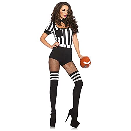 3 piece no rules referee, includes striped teddy with back pocket accents, belt, and choker collar.