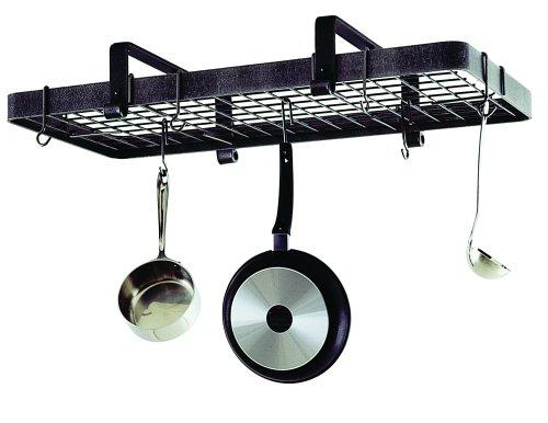 Swirl Design Wrought Iron Kitchen Hanging Pot Rack Pan