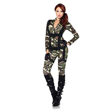 2pc.pretty paratrooper,zipper front camo jumpsuit and body harness