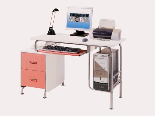 Picture of Comfortable Mad Tech 30x23x52 Pink & White Mdf Panel & Steel Frame Computer Office Desk Table (B004W0MDWW) (Computer Desks)