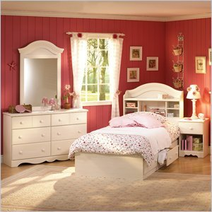 Image of South Shore Summer Breeze Kids Twin Wood Bookcase Bed 4 Piece Bedroom Set in White Wash (3210080-4PKG)