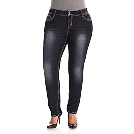 "These Luscious Curvy Skinny Jeans feature a double button closure. Contoured waistband to prevent gapping while creating a slim silhouette. 32"" Inseam."