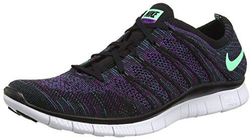 Nike Free Flyknit Nsw, Herren Multisport Outdoor, Schwarz (Blk/Grn Glw-Rdnt Emrld-Vvd Prp 003) - Größe: 46 EU (11 UK)