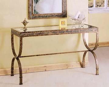 Image of Entry Way Console Table Brown Metal Frame (VF_AM8633)