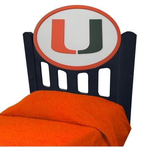 Image of University of Miami Hurricanes Kids Wooden Twin Headboard With Logo (C0526B-Miami)