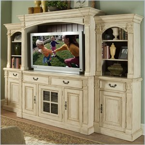Image of Riverside Furniture Weybridge 64 Inch TV Stand Entertainment System in Madera Cherry and Wellington White (80140-PKG)