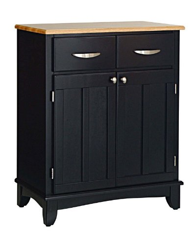 Image of Server Sideboard with Natural Wood Top in Black Finish (VF_HY-5001-0041)