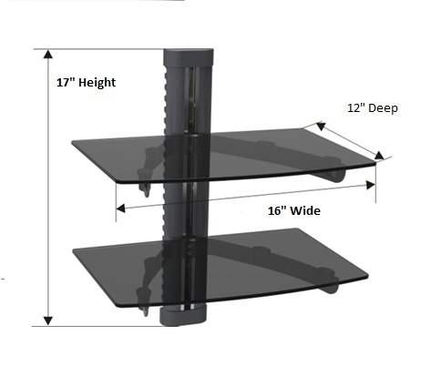 Mount World 1446 2 Tier Component Shelf Wall Mount For