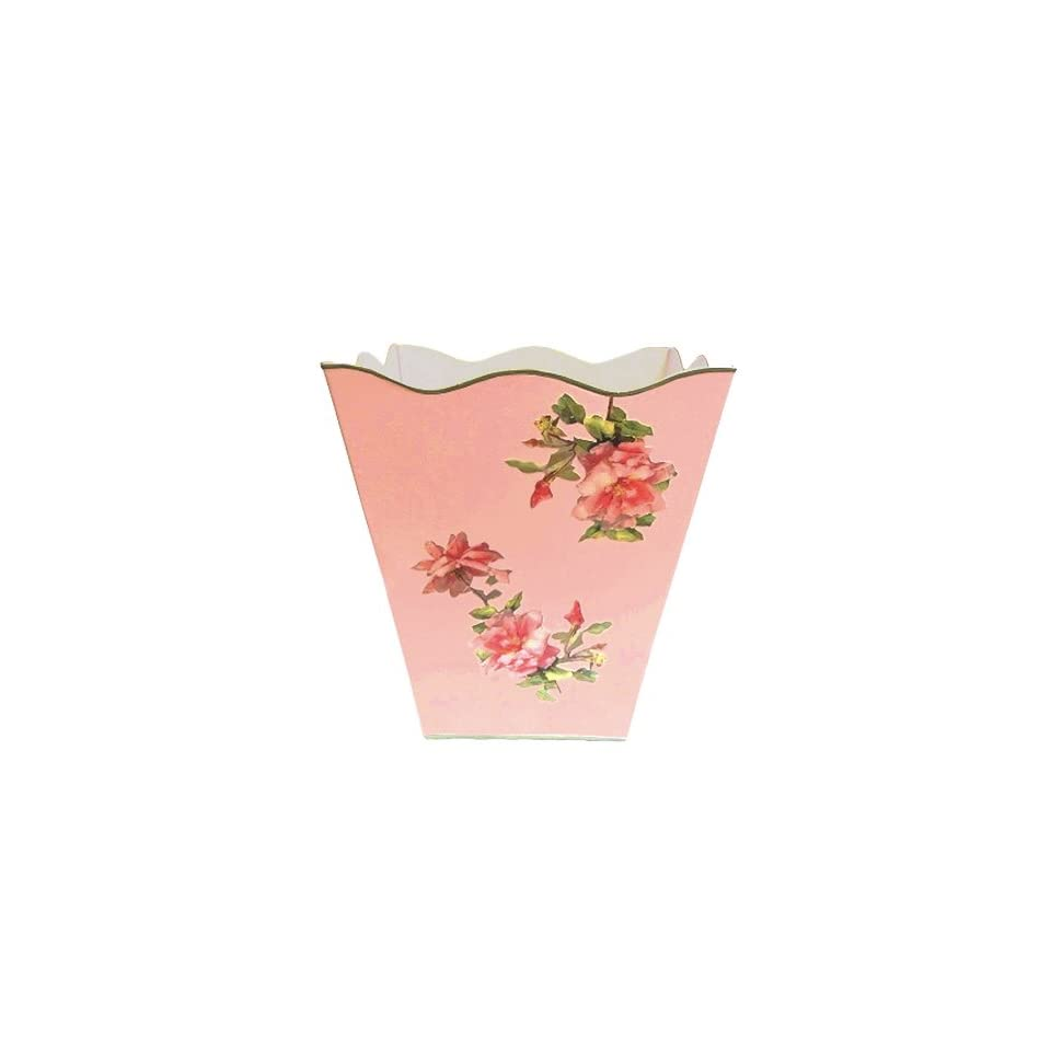 Shabby Chic Waste Baskets Vintage Pink Roses Wastebasket Trash Can Waste Can Trash Bin