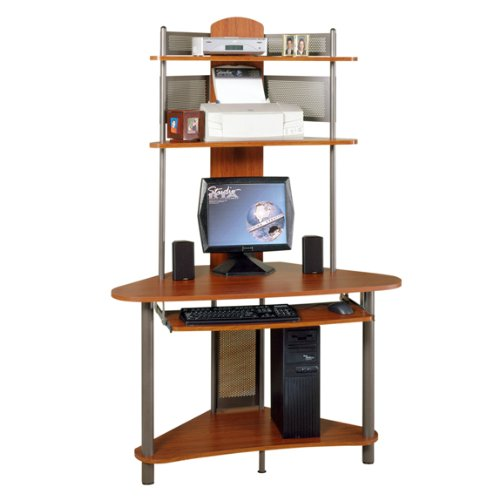 Picture of Comfortable Tower Corner Computer Desk - Pewter and Cherry Finish (B004XENPOC) (Computer Desks)