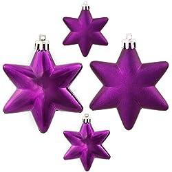 "36ct Matte & Shiny Deep Purple Star Shatterproof Christmas Ornaments 1.5""-2"""