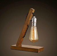Loft Retro Wood E27 Edison Table Lamp Cafe Home Bar Decoration