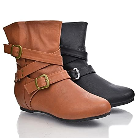 These ankle riding boots are perfect for any occasion, they feature a round toe, an adjustable buckle strappy wrap by the ankle area, a cushioned insole, an approximate 7.5 inch high shaft, and an approximate 0.25 inch low heel. Style fits true to si...