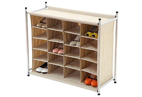 Storagemaniac Stackable 20 Compartment Shoe Cubby 20 Pair