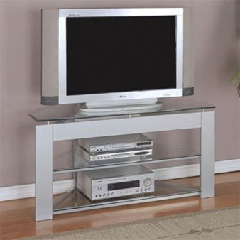 Image of Powell Glossy Silver TV Stand 968-802 (968-802)