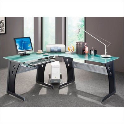 Picture of Comfortable Techni Mobili L-Shape Frosted Glass Metal Base Computer Desk in Graphite (B003J64ZLC) (Computer Desks)