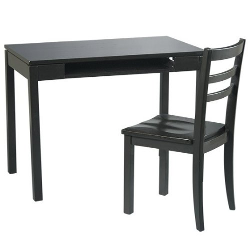 Picture of Comfortable Office Star Wood Computer Desk and Chair Set in Black (B001G8PJ2O) (Computer Desks)