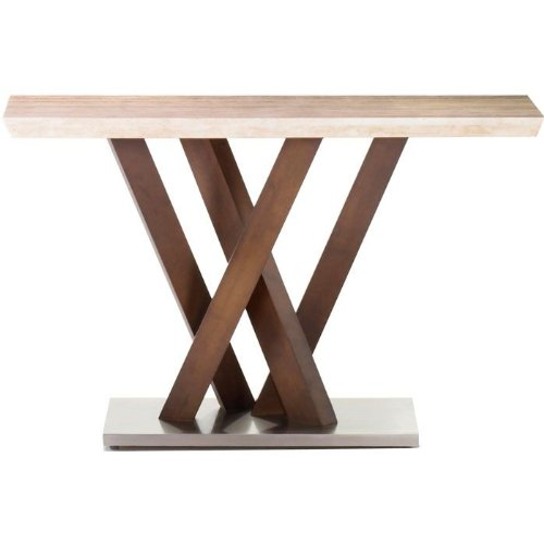 Image of Obliq Travertine Console Table by Armen Living (LCB222CNTOMBL-CNBA)