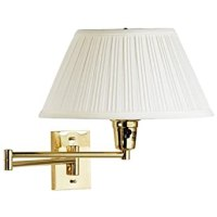 "Wall Mounted Swing Arm Lamp (Brass) (13"" diameter shade 19 ..."