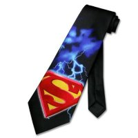 SUPERMAN S-Shield 100% SILK Neck Tie. Men's Handmade NeckTie.