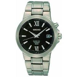AA Seiko Gents Black Dial Titanium Bracelet Dress Watch SKAP