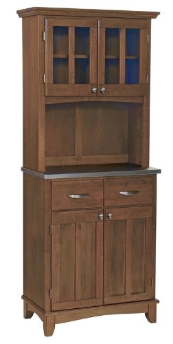 Image of Buffet Hutch with Stainless Steel Top in Cottage Oak Finish (VF_HY-5001-0063-62)