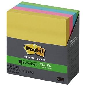 ポスト・イット 強粘着ノート Evernoteプレミアムコード付 90枚x4色 654-4SSAN-EN