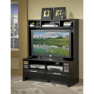 Image of Bernards Furniture Black Plasma TV Stand with Hutch (7983, 7982)