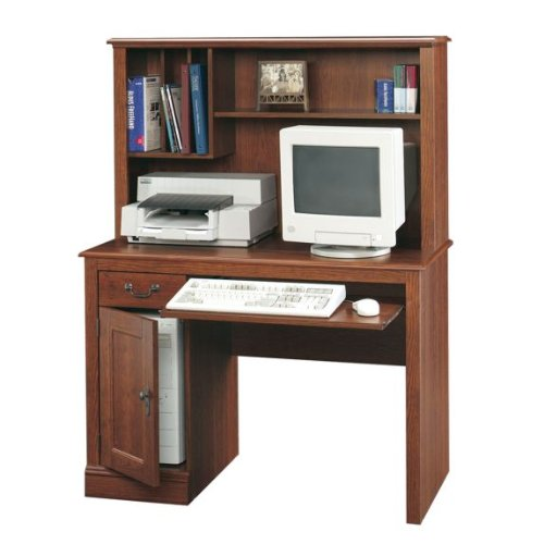 Picture of Comfortable Planked Cherry Finish Computer Desk with Hutch (B003TLHIM0) (Computer Desks)