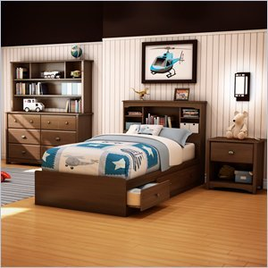 Image of South Shore Nathan Kids Twin Mates Bed 3 Piece Bedroom Set in Sumptuous Cherry Finish (3356212-3PKG)