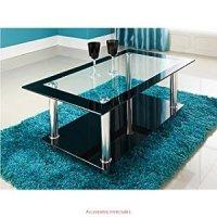 PHOENIX RECTANGULAR CLEAR BLACK GLASS COFFEE TABLE: Amazon ...