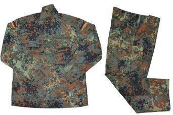 Mil ドイツ軍 現用 迷彩服 上下セット フレクターカモ迷彩 ウッドランド系 パンツ&ジャケット (M)