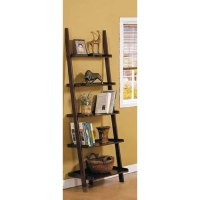 Amazon.com - Dark Espresso Brown Leaning Bookcase ...
