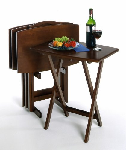 Image of 5PC Walnut Finish TV Tray Tables with Stand (AZ00-18931x32113)