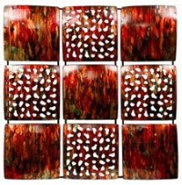 Red Metal Wall Art 9 Square: Amazon.co.uk: Kitchen & Home