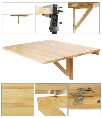 Drop Leaf Wall Table Wall-mounted Drop-leaf Table, Folding Dining Desk, Solid